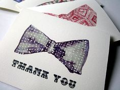Fathers Day Bowtie Thank You Notes  Retro Watercolor by jojolarue, $16.00