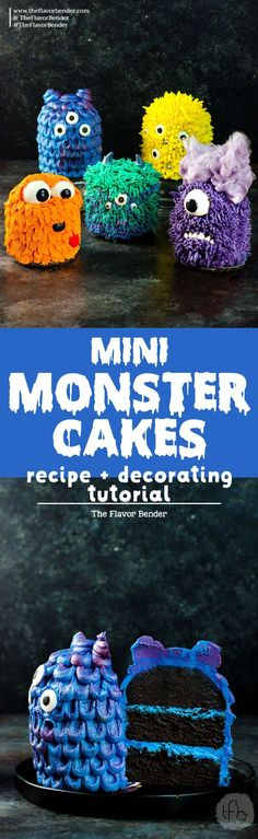 Mini Monster Cakes (Halloween Cakes) - A cake recipe for fudgy Chocolate Sheet cake and a full step by step tutorial to make 5 mini monster cakes that are perfect for Halloween Parties or Monster themed parties. via @theflavorbender