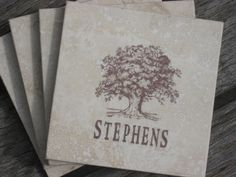 hand-stamped tree coasters as favors (I used tumbled marble tiles and brown staz-on ink)