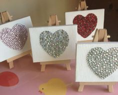 Tiny Heart Diamante Canvas & Easel - Wedding/Anniversary/Engagement Gift