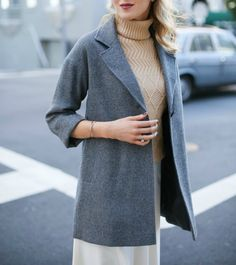 Grey Herringbone Coat Camel Cableknit TurtleneckMEMORANDUM, formerly The Classy Cubicle