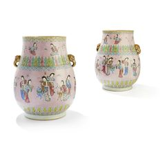 Magnificent pair of large famille rose vases, Qing dynasty, 18th-early 19th century