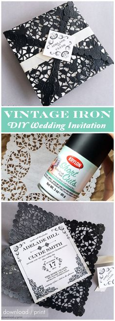 This gorgeous Vintage Iron wedding invitation is so easy to create with just a can of spray paint and a paper doily. It totally looks like a super expensive laser cut invitation!