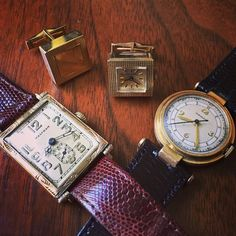 A Waltham rectangle, Movado and LeCoultre cuff links. All old school, early designs. Collectible and interesting. High End Watches, Old School, Cufflinks, Buy And Sell, Instagram Posts, Stuff To Buy, Accessories, Collection, Design