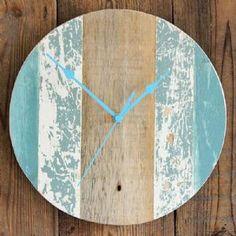 Driftwood Clock Four   Wall Clock   Coastal Clock