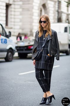 checkered outfit and leather jacket with mules