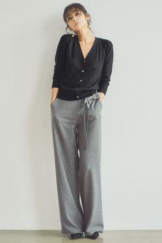 IEDITレーベルコレクション ストレッチ起毛素材が心地いい洗練シックなワイドパンツ〈グレイ〉 フェリシモ