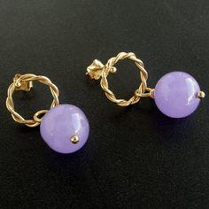 Purple Jade Earrings, Gold Plated Silver Earrings with Purple Jade Stone, Twisted Silver Wire Dangle Drop Mauve Earrings, Lilac Jewellery