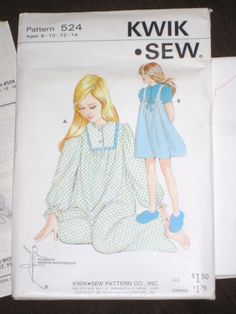 Kwik Sew 524 Girls' Nightgown  Size  8 10 12 14  Vintage