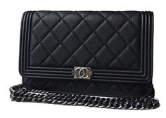 Sacs à main Chanel Boy WOC, black caviar leather