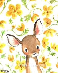 Children's Art  Whimsy Floral Fawn  Art Print by trafalgarssquare