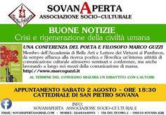 Sovana conferenza del poeta e filosofo Marco Guzzi sabato 2 Agosto
