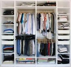 Nice, white options of shelves, drawers, different sections of hangers for different things.  But, I need a long hanging option for long dresses/jump suits