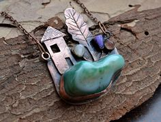 Copper pendant House trees flowers by TanyaKolyada on Etsy