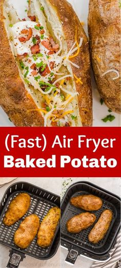 This contains: This recipe for Air Fryer Baked Potato comes out perfectly every time. The skin of the potato is salty and crispy while the inside is tender and fluffy. Baked Potato Toppings, Baked Potato Bar, Air Fryer Baked Potato, Baked Potato Recipes, Cooking Baked Potatoes, Loaded Baked Potatoes, Most Popular Recipes, Favorite Recipes, Crockpot Recipes