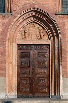 Main entrance to the Church of Santa Maria del Carmine (14th–15th century), Pavia, Lombardy, Italy.