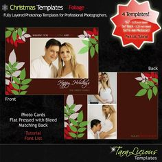 TaraLicious Photoshop Templates for Professional Photographers - PSD Layered - Christmas Templates - Foliage