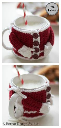 Fast and Easy Christmas Crochet Free Patterns for Last Minutes Santa Suit Mug Cosy Free Knitting Pattern Free Christmas Gifts, Crochet Christmas Gifts, Christmas Cup, Christmas Knitting Patterns, Holiday Crochet, Easy Knitting Patterns, Crochet Gifts, Simple Christmas, Free Knitting