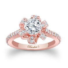 Rose Gold Engagement Ring - 7958LPW - This unique rose gold diamond halo engagement ring features a halo of pave set diamond ribbons encircling the round prong set diamond center.  Shared prong set diamonds cascade down the dainty shank for an elegant finish.