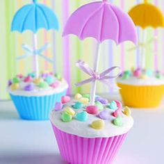 Umbrella cakes...great for a spring shower
