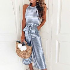 7548439f9e0 2018 Women Summer O-neck Bowknot Pants Playsuit Sashes Pockets Sleeveless Rompers  Overalls Sexy Office Lady Striped Jumpsuits