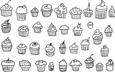 35 Hand Drawn Cupcake Vectors by wesleymiller on @creativemarket