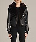 ALLSAINTS US: Womens Higgens Lux Leather Biker Jacket (Black/Black)