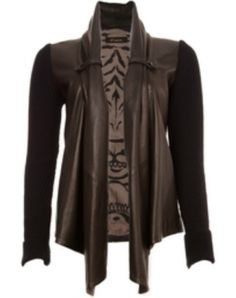 Tiger Shawl Leather Jacket with Knitted Sleeves and Tiger Print Lining 100% Leather