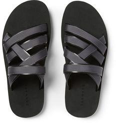 Dan Ward - Grosgrain-Trimmed Leather Sandals |MR PORTER