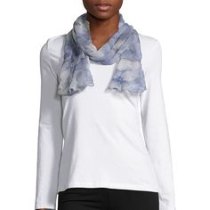 Lauren Ralph Lauren Silk Printed Scarf ($58) ❤ liked on Polyvore featuring accessories, scarves, blue, colorful shawl, blue scarves, silk shawl, multi colored scarves and silk scarves