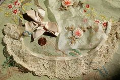 ANTIQUE SILK RIBBONWORK ROSES TRIM LOT SHEER TISSUE LACE FRENCH DOLL APPLIQUE