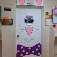 turn a winter snowman door into a spring bunny- how many ideas could you do on the same white paper for all the seasons???