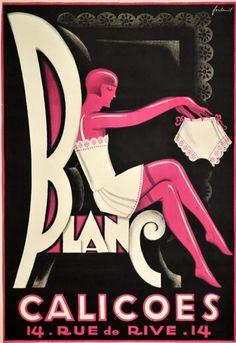 "Noël Fontanet, ca 1935, Blanc ""Calicoes"" fine lingerie, Genève."
