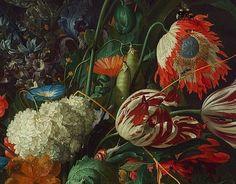 Jan Davidsz de Heem Vase of Flowers, detail 1660 Flower Painting Images, John William Godward, Dutch Golden Age, Dutch Painters, Orchards, Painting Techniques, Oeuvre D'art, Flower Vases, Les Oeuvres