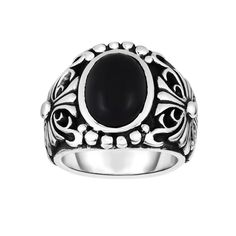 Ring Silver Oxidized Shiny Fancy Ring with Black Onyx