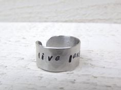 Live Laugh Love hand stamped silver aluminum cuff ring by Amayeli, $10.00