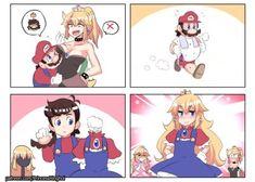 Princess Bowser (Bowsette) and Female Mario (Maria) Super Smash Bros, Super Mario Bros, Mario Comics, Mario Memes, Mario And Luigi, Anime Comics, Funny Games, Game Character, Mario Brothers