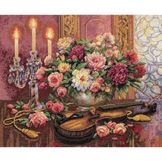 Dimensions Gold Collection Romantic Floral Counted Cross Stitch Kit, 16 inch x 13 inch Half Cross Stitch Used, Multicolor Cross Stitch Love, Counted Cross Stitch Kits, Cross Stitch Flowers, Cross Stitch Designs, Cross Stitch Patterns, Stitching Patterns, Ribbon Embroidery Tutorial, Silk Ribbon Embroidery, Dimensions Cross Stitch