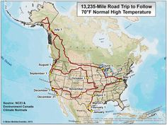Map of a year long North American road trip for 70 degree weather every day (North America, United States) Rv Travel, Travel Destinations, Travel Tips, Travel Route, Canada Travel, Wanderlust Travel, Time Travel, The Places Youll Go, Places To See