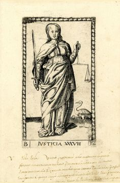 WL female figure, frontal view; holding a sword in her r hand, scales in her l hand; a bird on r; after the so-called Tarocchi Cards of Mantegna.  Engraving
