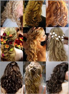 hair idea half up half down with some flowers tucked in