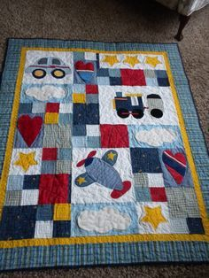 Car Plane and Train Crib Quilt With Minky by danastiegemeier, $230.00 - these colors, minus the gold.