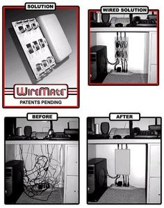 Amazon.com : Wiremate Cable Organizer Black : Wire And Cable Organizers : Office Products.  Amazon search: Cord Management