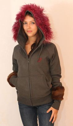 Unique piece: grey hoodie with vintage fur cuffs and hood, only one available, size medium, vintage (real) fur on hood and cuffs