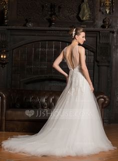 Ball Gown V Neck Court Train Tulle Wedding Dress With Ruffle 002067240