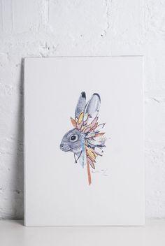Rabbit With Feather Headress Print