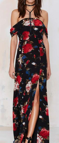 Rose off shoulder maxi