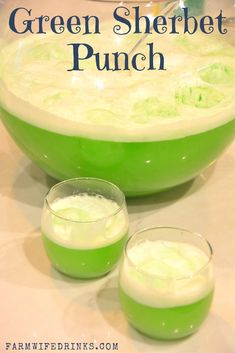 Green Sherbet Punch - Lime Green Punch - The Farmwife Drinks Lime Sherbert Punch, Sorbet Punch, Green Punch Recipes, Raspberry Sherbet Punch, Punch Recipes For Kids, Lime Punch, Green Punch Recipe For Kids, Lime Kool Aid, Party