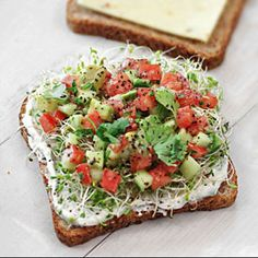 California Sandwich- tomato, avocado, cucumber, sprouts & chive spread - I think I'm gonna try this!