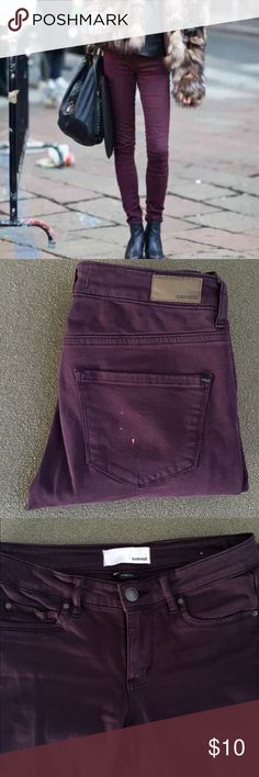 """Garage High Waist Purple Jegging Garage High Waist Purple Jegging. Fit more like 0 than 00.  Small white spots, maybe bleach on back pocket. I've worn with long tops so it wasn't noticeable.  I'm sure this can be dyed, I've never tried as they don't fit me anymore.  Waist 13 1/4"""". Inseam 31"""". Rise 7 1/2"""". 99% cotton, 1% spandex. Garage Jeans Skinny"""
